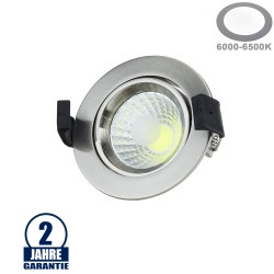 8W LED COB Einbauleuchte Rund Schwenkbar Kaltweiß Inox