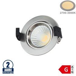 8W LED COB Einbauleuchte Rund Schwenkbar Warmweiß Inox