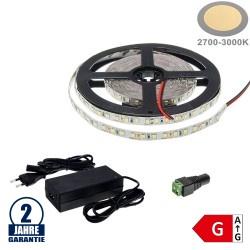120SMD/m 9,6W/m 12V LED Streifen 3528 Warmweiß 5m SET