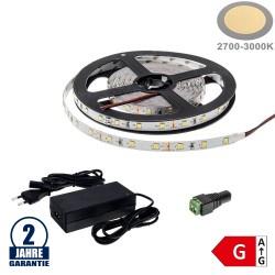 60SMD/m 4,8W/m 12V LED Streifen 3528 Warmweiß 5m SET