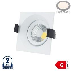 8W LED COB Einbauleuchte Quadratisch Schwenkbar Neutralweiß