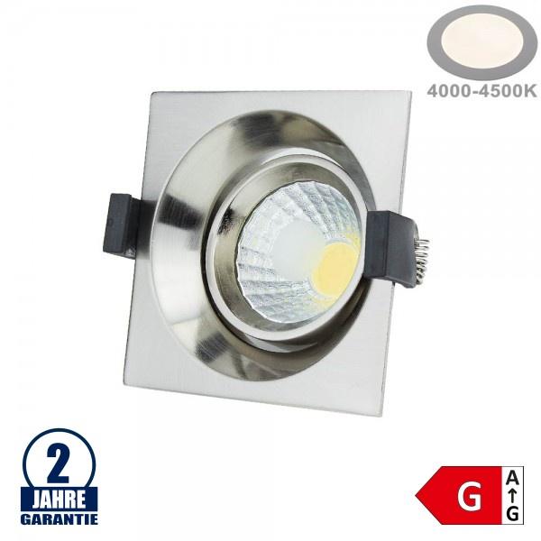 8W LED COB Einbauleuchte Quadratisch Schwenkbar Neutralweiß Inox