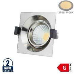 8W LED COB Einbauleuchte Quadratisch Schwenkbar Warmweiß Inox