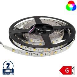 60SMD/m 14,4W/m 12V LED Streifen 5050 RGB mit Warmweißen Dioden 5m Rolle