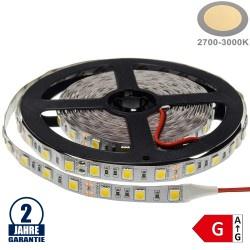 60SMD/m 14,4W/m 12V Premium LED Streifen 5050 Warmweiß 5m