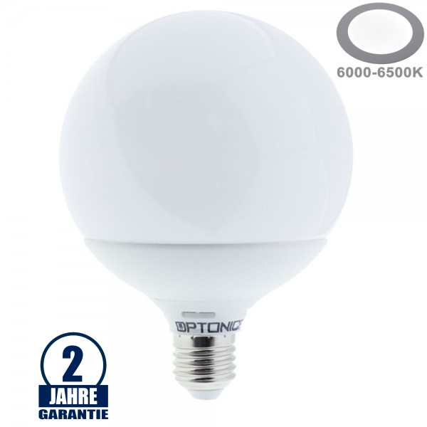 15W LED E27 G120 Globe Kunststoff Kaltweiß
