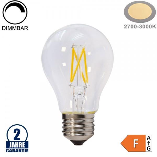 6W LED FILAMENT E27 A60 Birne Glas 600 Lumen Warmweiß Dimmbar