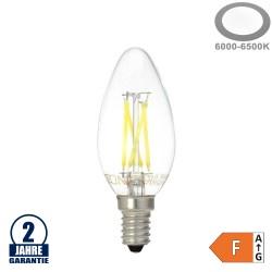 4W LED FILAMENT E14 C35 Kerze Glas 400 Lumen Kaltweiß