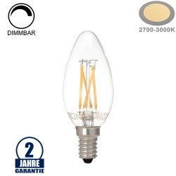 4W LED FILAMENT E14 C35 Kerze Glas 400 Lumen Warmweiß Dimmbar