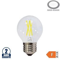 4W LED FILAMENT E27 G45 Birne Glas 400 Lumen Kaltweiß