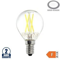 4W LED FILAMENT E14 G45 Birne Glas 400 Lumen Kaltweiß