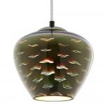 3D Glas Pendelleuchte Chromfarben Mövenmuster D200 E27