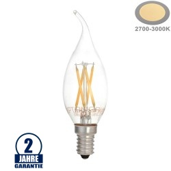 4W LED FILAMENT E14 Windstoßkerze 400 Lumen Warmweiß