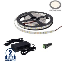 60SMD/m 4,8W/m 12V LED Streifen 3528 Neutralweiß 5m SET
