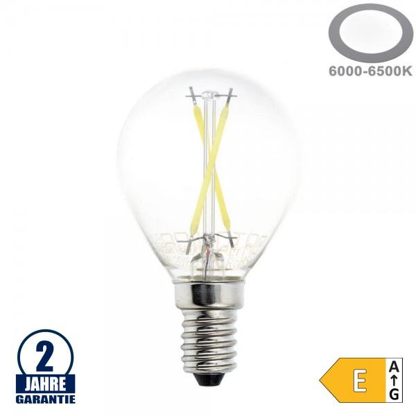 2W LED FILAMENT E14 G45 Birne Glas 200 Lumen Kaltweiß