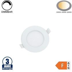 6W LED Einbauleuchte Slim Rund CCT Farbwechsel Dimmbar IP44