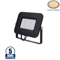 30W LED SMD Fluter Professional mit 70cm Kabel Schwarz Warmweiß