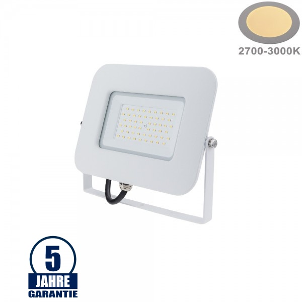 50W LED SMD Fluter Professional mit 70cm Kabel Weiß Warmweiß
