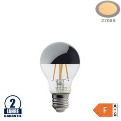 4W LED Spiegelkopf E27 A60 Birne Silber Glas Warmweiß