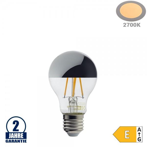 7W LED Spiegelkopf E27 A60 Birne Silber Glas Warmweiß