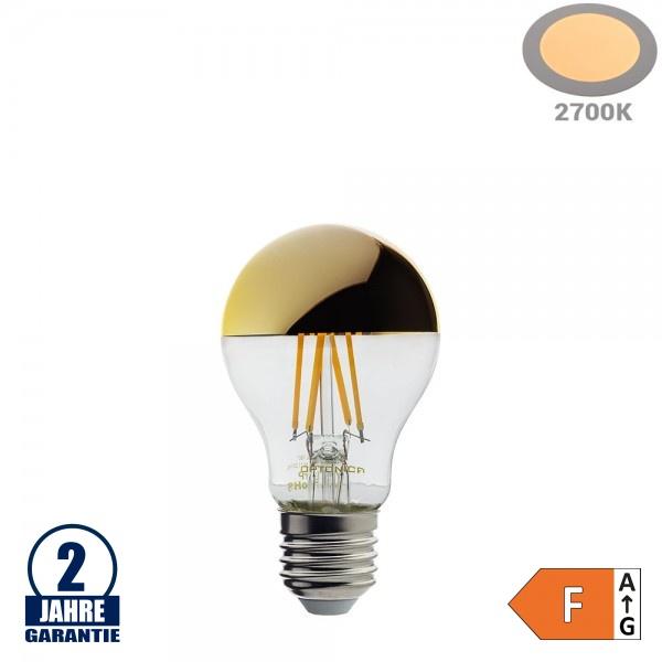 4W LED Spiegelkopf E27 A60 Birne Gold Glas Warmweiß