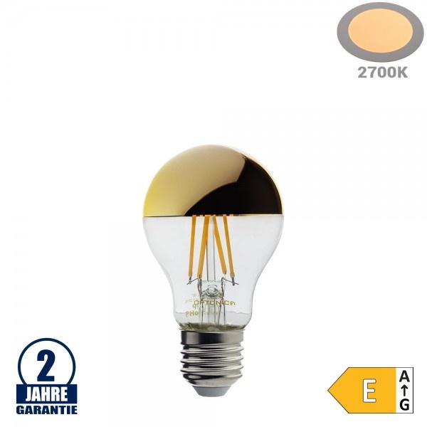 7W LED Spiegelkopf E27 A60 Birne Gold Glas Warmweiß