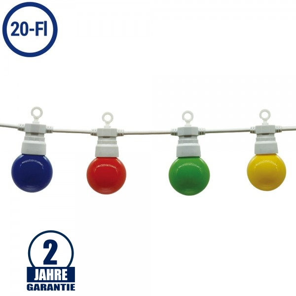 LED Party-Lichterkette Bunt 20-flammig Weiß 13 Meter IP65