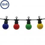 LED Party-Lichterkette Bunt 10-flammig Schwarz 8 Meter IP65