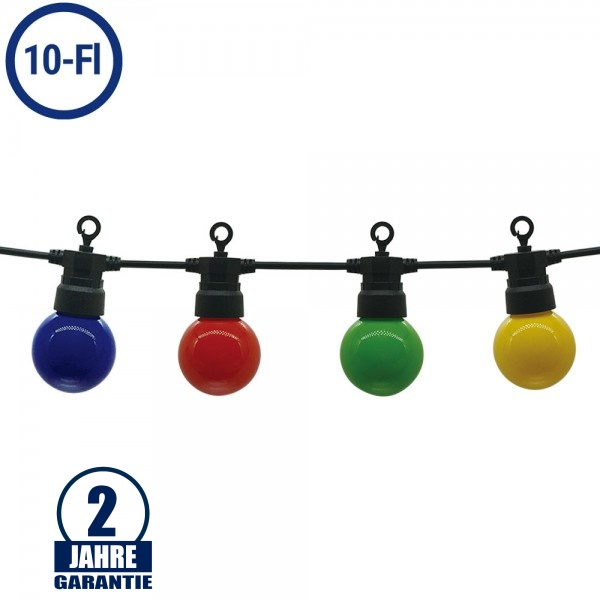 LED Party-Lichterkette Bunt 10-flammig Schwarz 8 Meter IP65