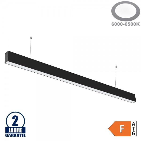 40W LED Linearleuchte mit Abhängung Schwarz Kaltweiß