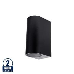 Wandlampe mit GU10 Fassung 2-fach Zylinder Schwarz IP44