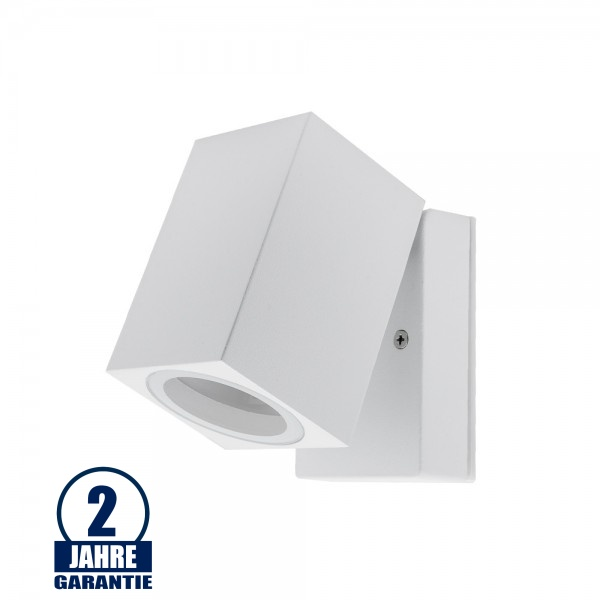 Wandlampe mit GU10 Fassung 1-fach Quader Schwenkbar Weiß IP44