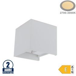 6W LED Wandleuchte Würfel Up and Down Weiß IP54 Warmweiß