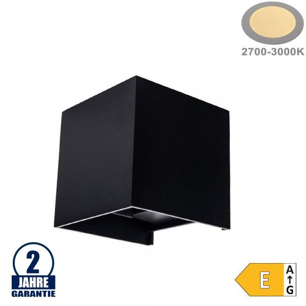 6W LED Wandleuchte Würfel Up and Down Schwarz IP54 Warmweiß