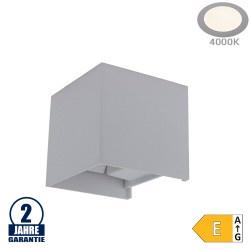 12W LED Wandleuchte Würfel Up and Down Grau IP54 Neutralweiß
