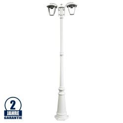 Außen Laterne mit E27 Fassung Mastleuchte 200cm 2-flammig Weiß