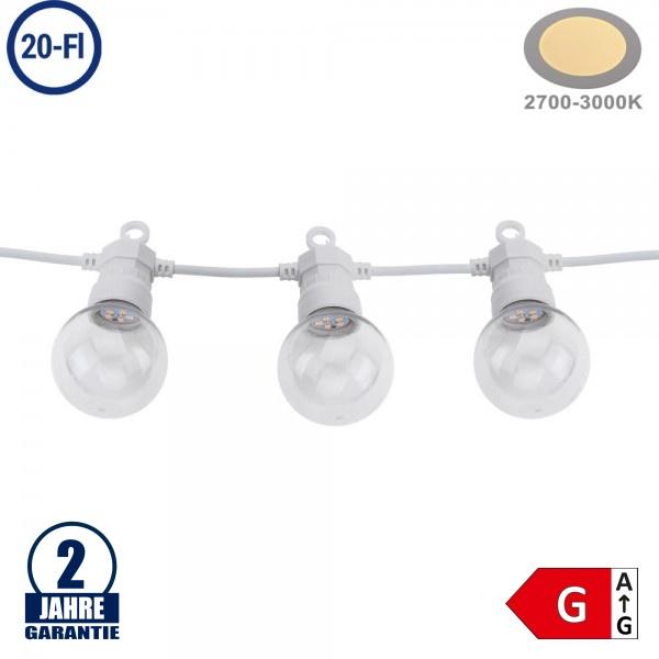 Lichterkette Weiß inkl. Birnen Warmweiß 20Stk. 13 Meter IP65