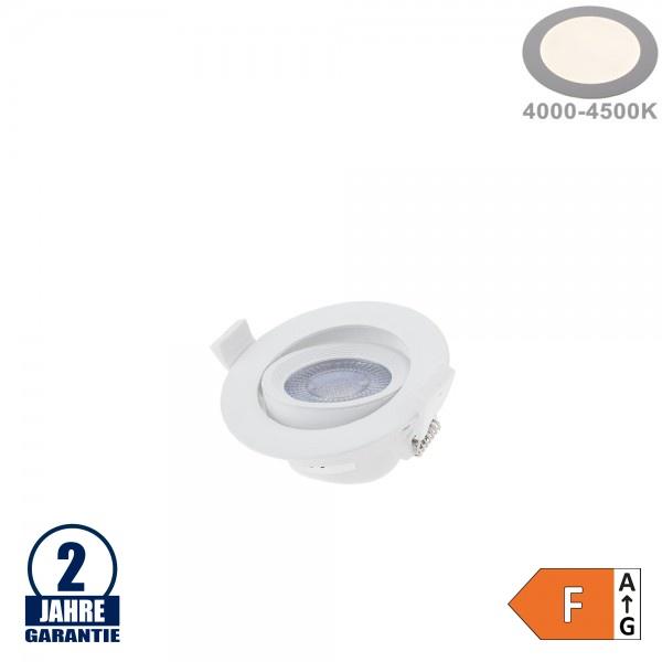 5W LED SMD Einbauleuchte Rund Schwenkbar Weiß Neutralweiß