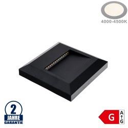 2W LED Treppenleuchte Quadratisch Schwarz Neutralweiß