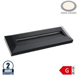 3W LED Treppenleuchte Rechteckig Schwarz Neutralweiß