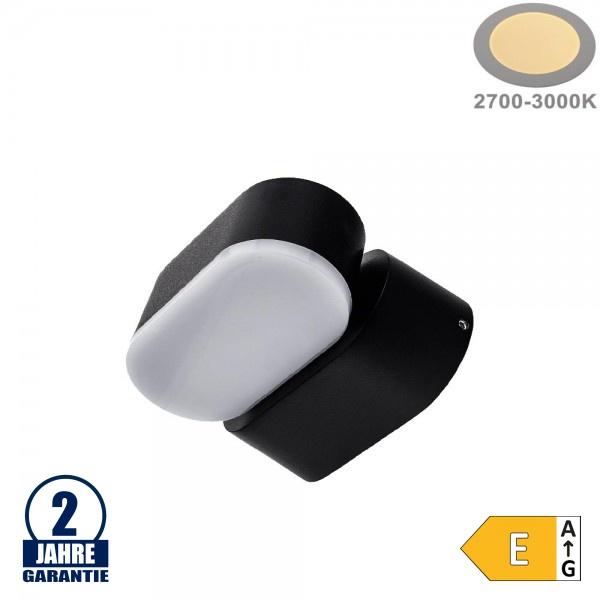 6W LED Wandleuchte Schwenkbar 1-fach Schwarz IP54 Warmweiß