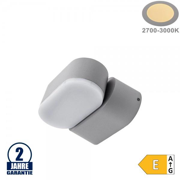 6W LED Wandleuchte Schwenkbar 1-fach Grau IP54 Warmweiß