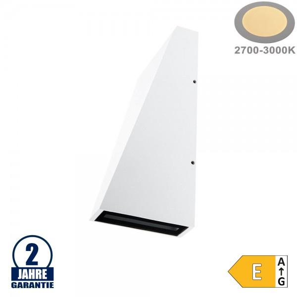 6W LED Wandleuchte Trapez Up and Down Weiß IP54 Warmweiß