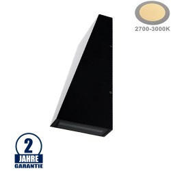 6W LED Wandleuchte Trapez Up and Down Schwarz IP54 Warmweiß