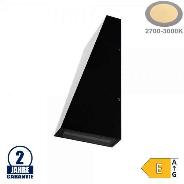 6W LED Wandleuchte Trapez Up and Down Schwarz IP54 Warmweiß
