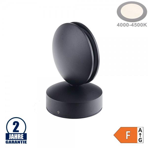 7W LED Wandleuchte für Tür/ Fensterbögen Schwarz IP54 Neutralweiß