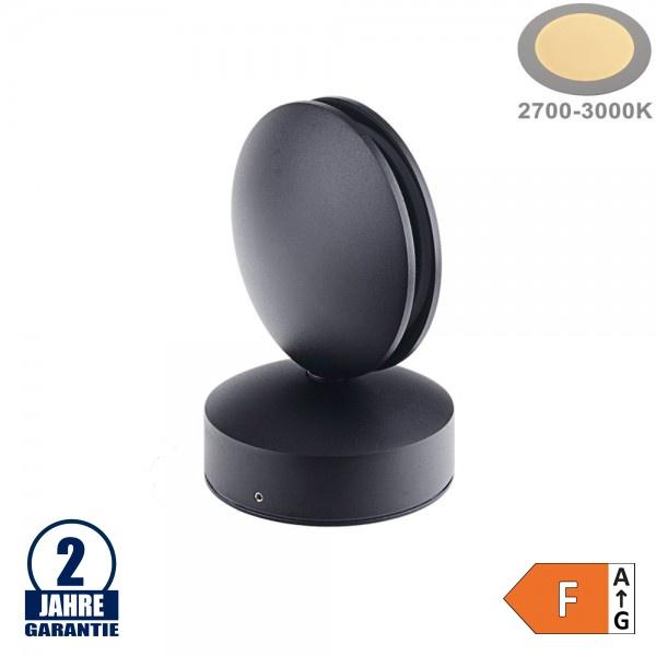 7W LED Wandleuchte für Tür/ Fensterbögen Schwarz IP54 Warmweiß