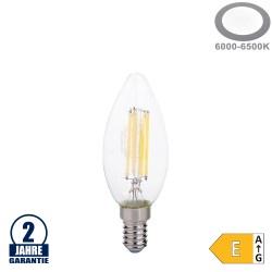6W LED FILAMENT E14 C35 Kerze Glas 730 Lumen Kaltweiß