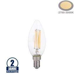 6W LED FILAMENT E14 C35 Kerze Glas 730 Lumen Warmweiß