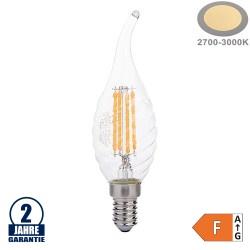 4W LED FILAMENT E14 C35 Gedrehte Windstoßkerze Glas 400 Lumen Warmweiß